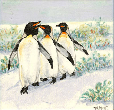 Hand-painted Ceramic Art Tile Painting - Walkin The Walk by Dy Witt