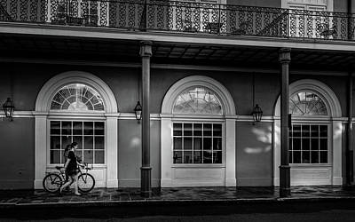 Photograph - Walking A Bike In The French Quarter Bw by Greg Mimbs