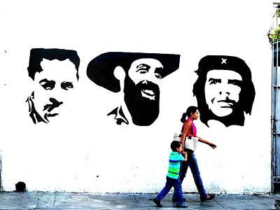 Photograph - Walking A Revolution Wall In Havana Cuba  by Funkpix Photo Hunter