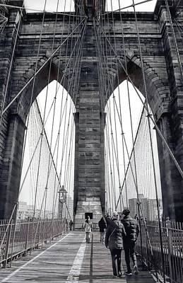 Photograph - Walking Across The Brooklyn Bridge by Dyle Warren