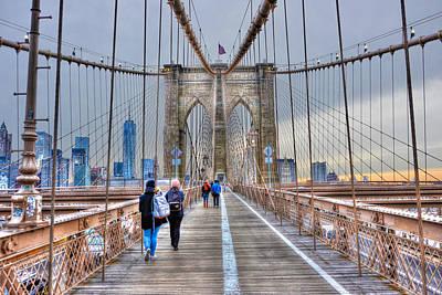 Walking Across The Brooklyn Bridge Original by Randy Aveille