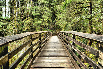 Photograph - Walking Across The Wooden Bridge by Jeff Swan