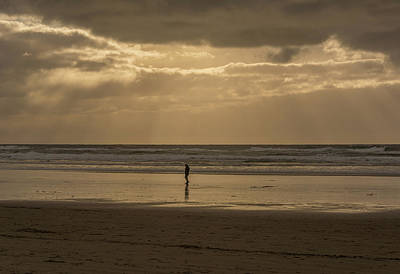 Beach Photograph - Walking Alone by Marv Vandehey