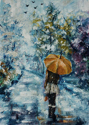 Painting - Walking Alone Wintertime by Kovacs Anna Brigitta