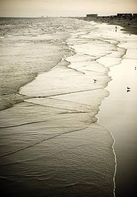 Walking Along The Beach At Sunrise Art Print by Marilyn Hunt