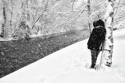 Walking Along The Wissahickon In The Snow Art Print by Bill Cannon