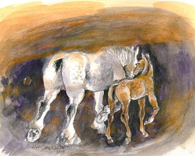 Horse Painting - Walking Away by Mary Armstrong