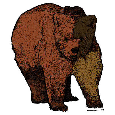 Forrest Drawing - Walking Bear - Color by Karl Addison