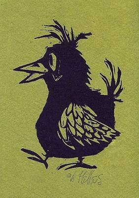 Walking Bird With Green Background Art Print by Barry Nelles Art
