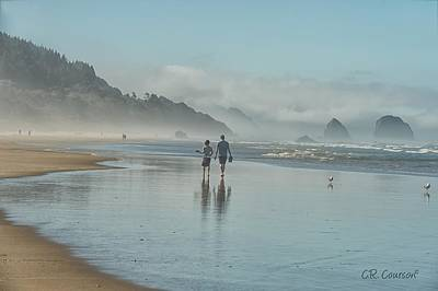 Photograph - Walking Cannon Beach by CR  Courson