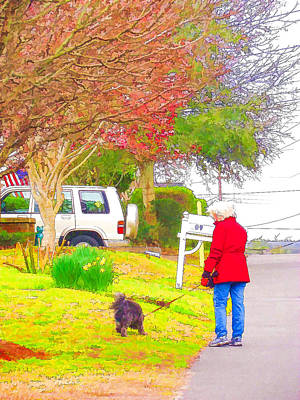 Swansboro Painting - Walking Dogs In A Neighborhood 1 by Lanjee Chee