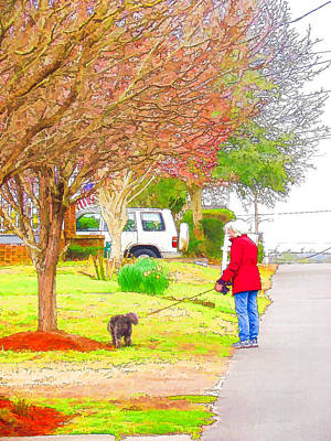Swansboro Painting - Walking Dogs In A Neighborhood 2 by Lanjee Chee