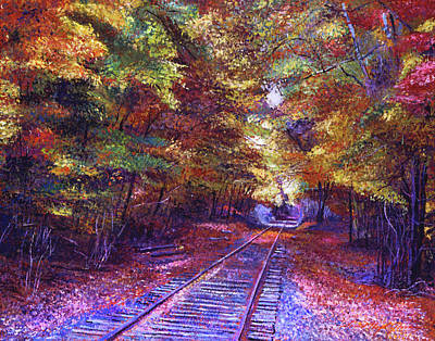 Autumn Landscape Painting - Walking Down The Railway Tracks by David Lloyd Glover