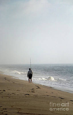 Photograph - Walking Fisherman by Mary Haber