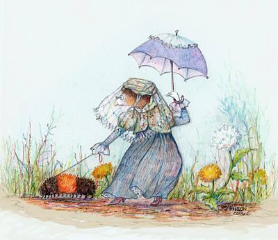 Walking Fuzzy Art Print by Peggy Wilson