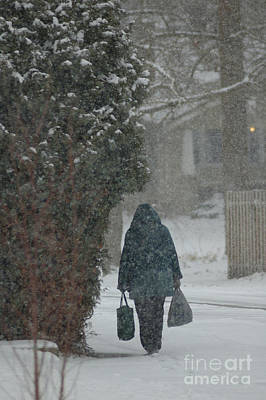 Walking Home In The Snow Art Print