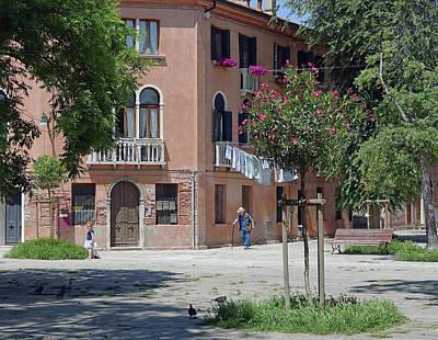 Walking In A Quiet Neighborhood On Murano Art Print