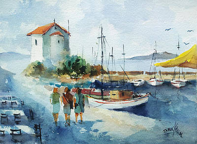 Painting - Walking In Lesbos Island... by Faruk Koksal