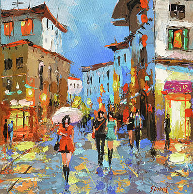 Painting - Walking In Old Street, City Scene. by Dmitry Spiros