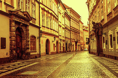Photograph - Walking In Prague. Series Golden Prague by Jenny Rainbow