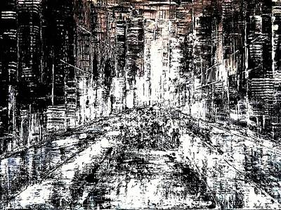 Faith Hope And Love Painting - Walking In The City by Jarka Fox