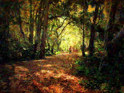 Photograph - Walking In The Enchanted Forest Impressionism by Joyce Dickens