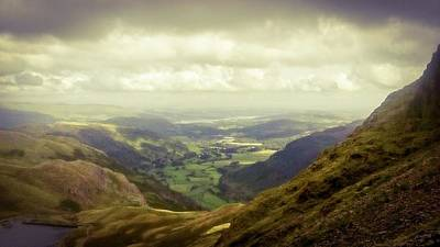 Photograph - Walking In The Mountains, Lake District, by Samuel Pye