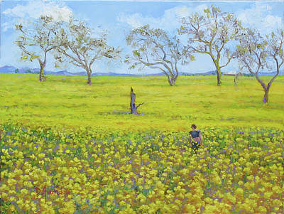 California Vineyard Painting - Walking In The Mustard Field by Dominique Amendola
