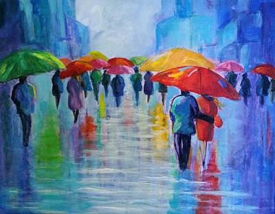 Painting - Walking In The Rain 3 by Rosie Sherman