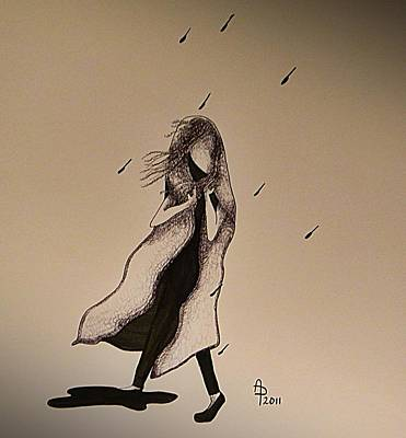 Walking In The Rain Art Print by Annie Penland
