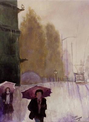 Painting - Walking In The Rain by Dan Wagner