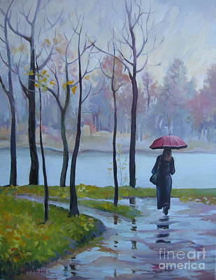 Art Print featuring the painting Walking In The Rain by Elena Oleniuc