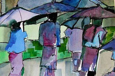 Walking In The Rain Art Print by Jane Ferguson