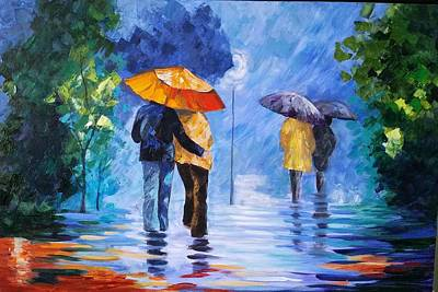 Walking In The Rain Art Print