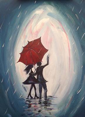 Red Umbrella Painting - Walking In The Rain by Roxy Rich