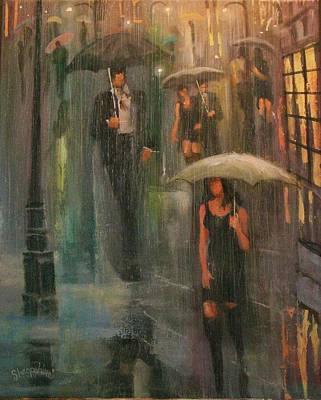 Rainy Night Painting - Walking In The Rain by Tom Shropshire