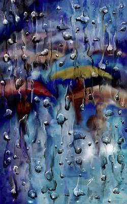 Art Print featuring the digital art Walking In The Rainfall by Darren Cannell