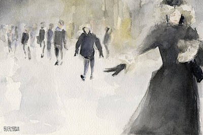 Vintage New York City Painting - Walking In The Snow by Beverly Brown