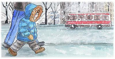 Painting - Walking In The Snow by Irina Sztukowski