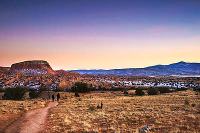Beautiful Landscape Photograph - Walking In The Twilight - Ghost Ranc - New Mexico by Ellie Teramoto