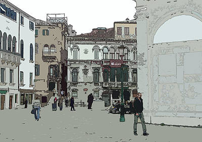 Walking In Venice Art Print by Mindy Newman