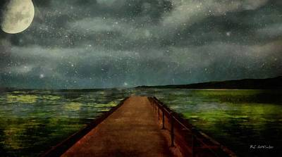 Sea Moon Full Moon Painting - Walking Into The Stars by RC deWinter