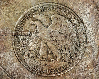 Digital Art - Walking Libery Half Dollar Reverse by Randy Steele