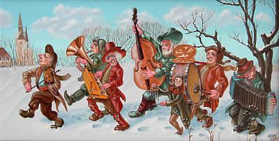 Walking Musicians Art Print