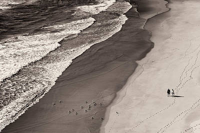 Walking On The Beach Art Print by Francesco Caso