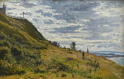 Painting - Walking On The Cliff Of Sainte-adresse by Claude Monet
