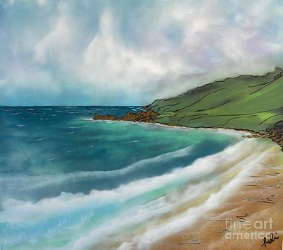 Robin Lewis Painting - Walking On The Sand by Robin Lewis