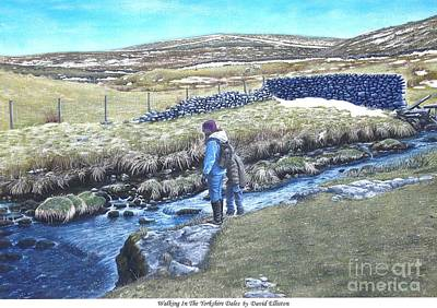 English Gouache Painting - Walking On The Yorkshire Dales by David Elliston