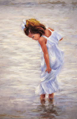 Little Girl On Beach Painting - Walking On Water by Katherine Tucker