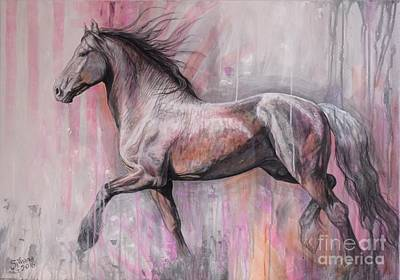 Bay Horse Painting - Walking Proud by Silvana Gabudean Dobre